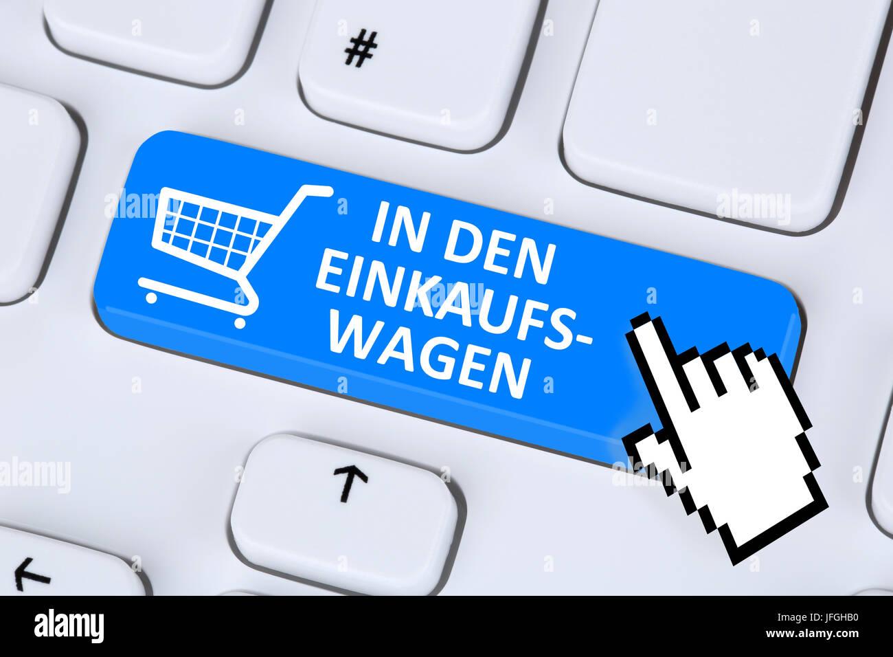 In den Einkaufswagen online Shopping einkaufen bestellen im Internet - Stock Image