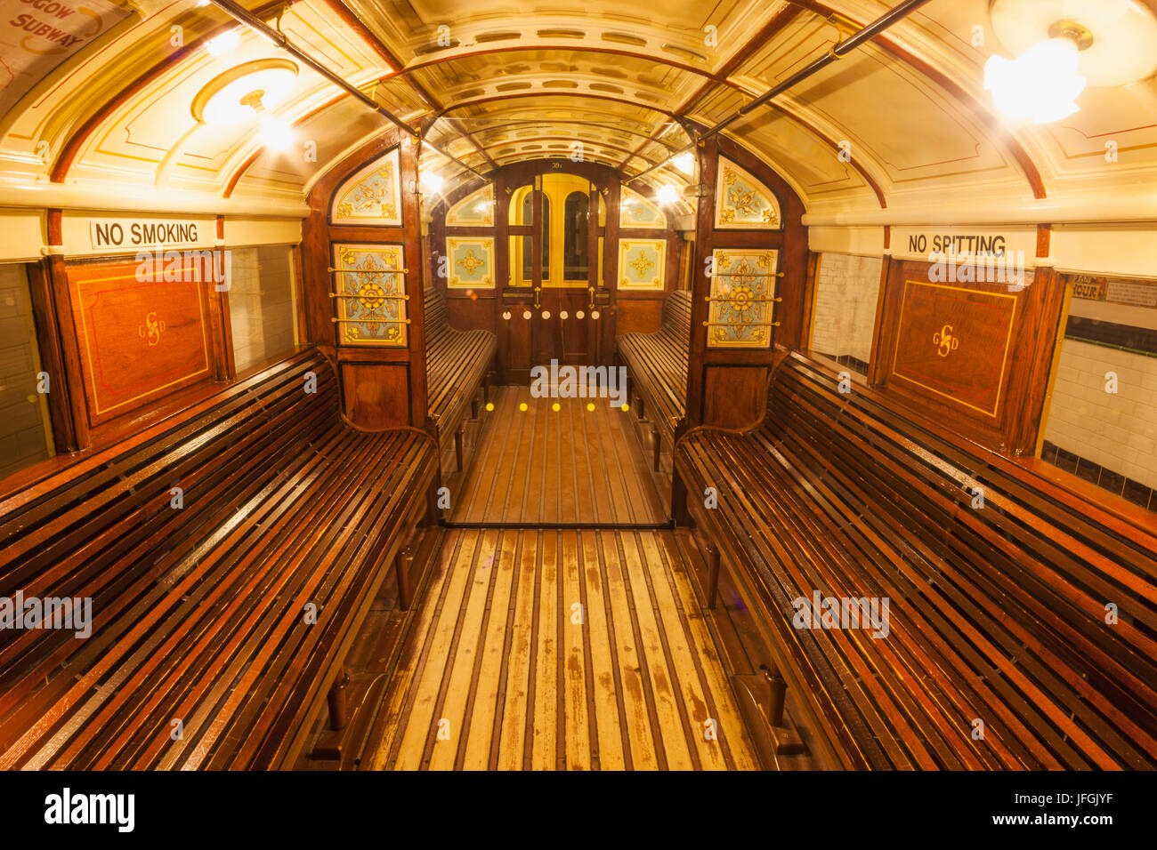 Scotland, Glasgow, Riverside Museum, Interior View of Historical Subway Carriage - Stock Image