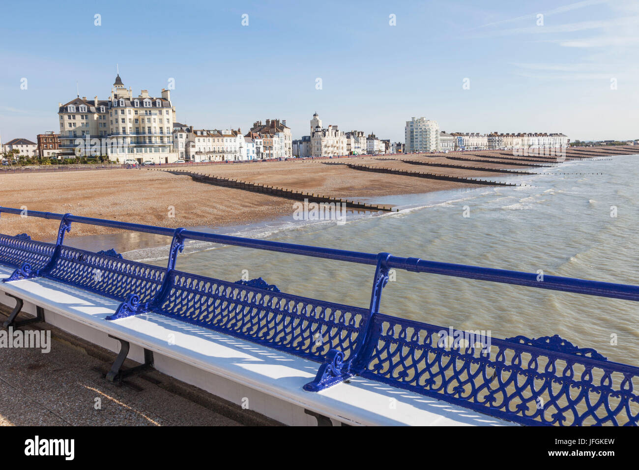 England, East Sussex, Eastbourne, Beach View from Eastbourne Pier Stock Photo