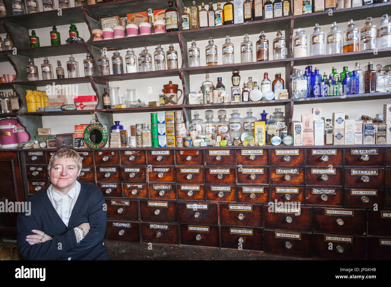 England, Birmingham, Dudley, The Black Country Living Museum, Traditional Pharmacy - Stock Image