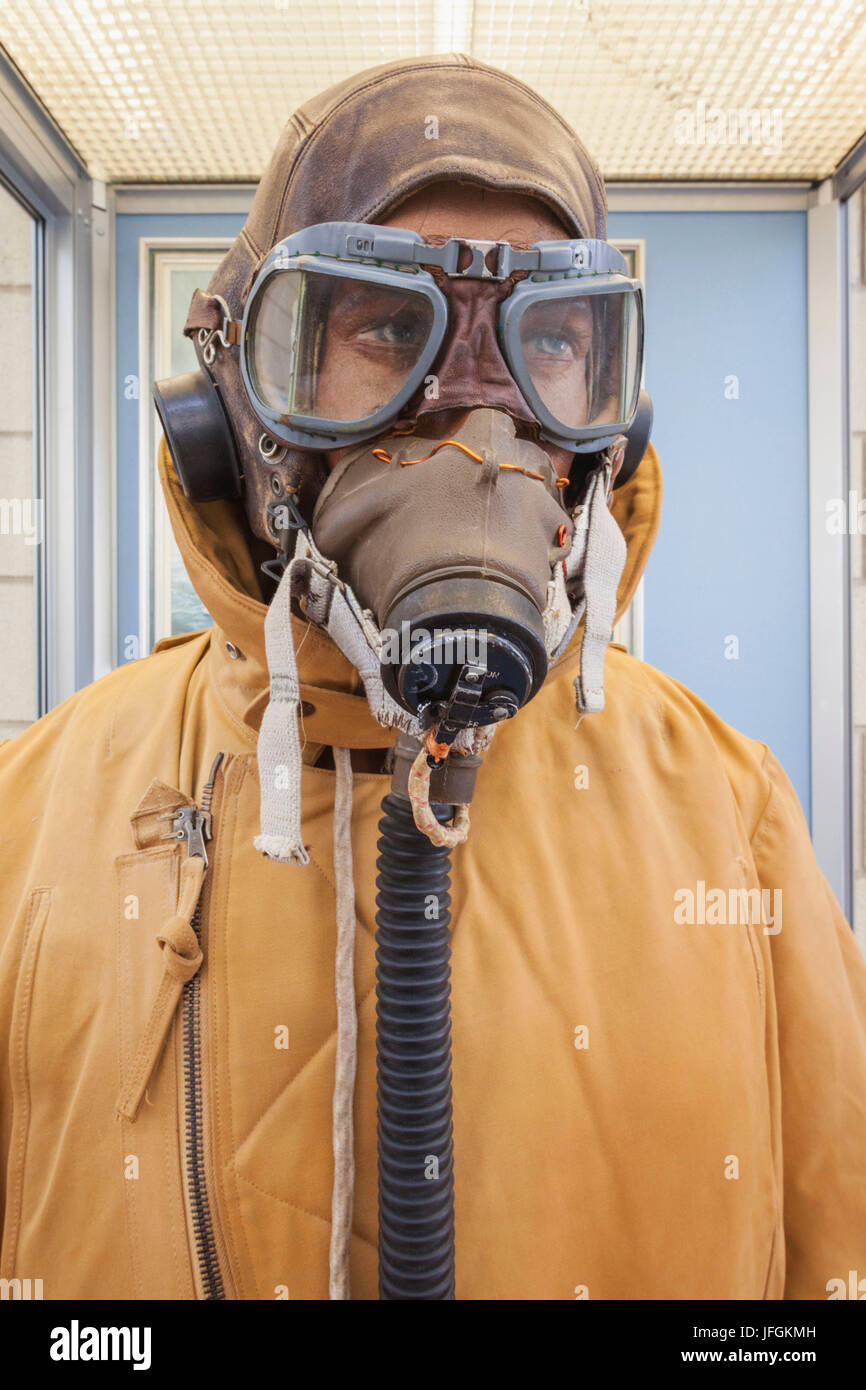 England, Shropshire, Royal Airforce Cosford Museum, Exhibit of WWII Pilot's Face Mask - Stock Image