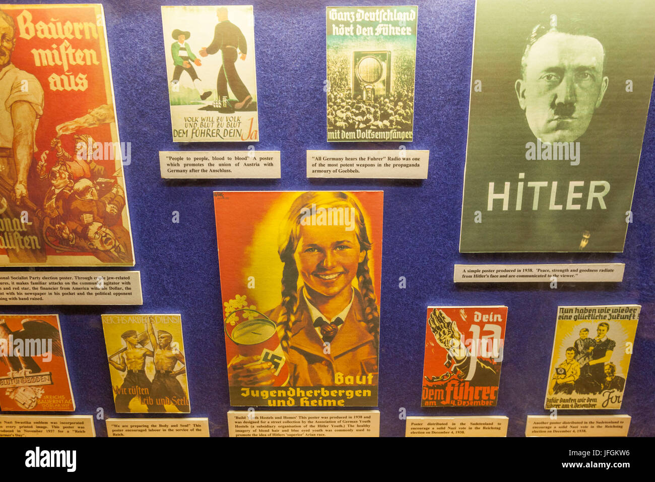 England, Yorkshire, Malton, Eden Camp Military Museum, World War II German Propaganda Posters - Stock Image
