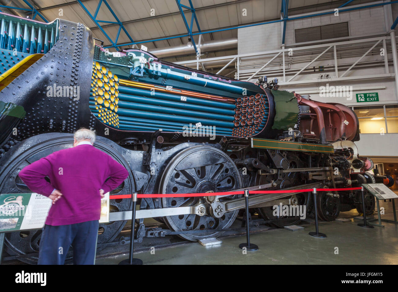 England, Yorkshire, York, National Railway Museum, Exhibit of Historical Steam Train - Stock Image