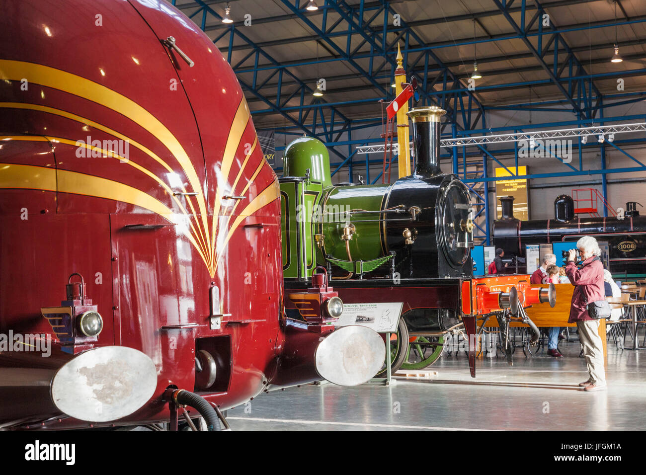 England, Yorkshire, York, National Railway Museum, Exhibit of Historical Trains - Stock Image