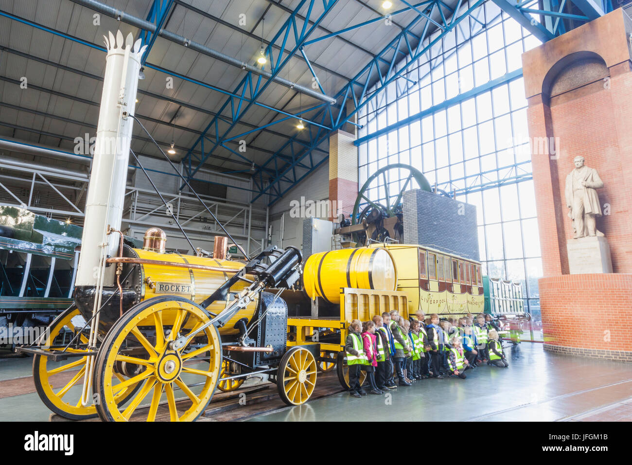 England, Yorkshire, York, National Railway Museum, Exhibit of Reproduction Stephenson's Rocket - Stock Image