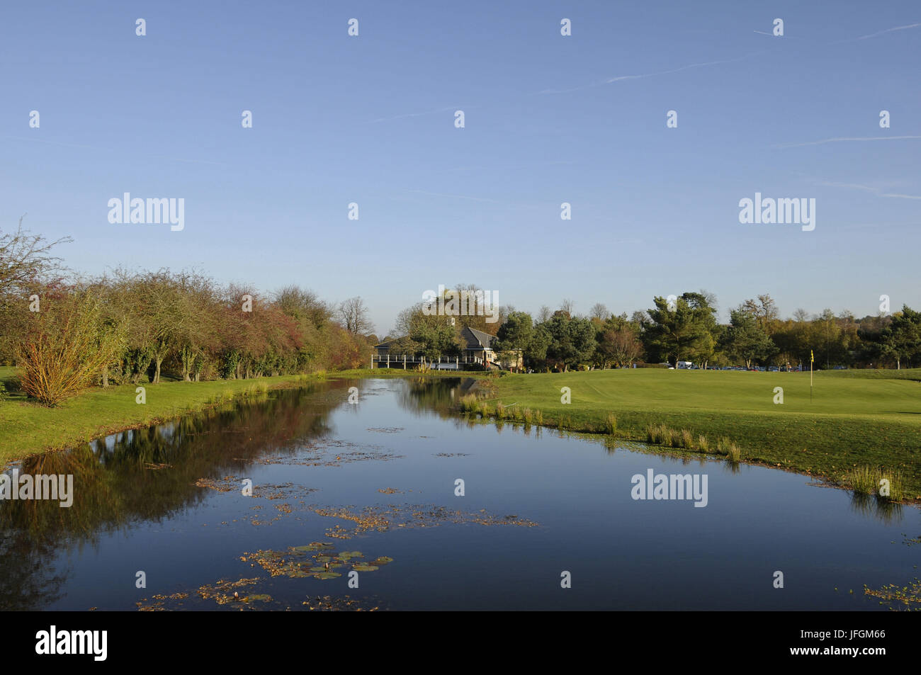 View over the pond with 9th Green to right and The Clubhouse in background Broke Hill Golf Club Orpington Kent England - Stock Image
