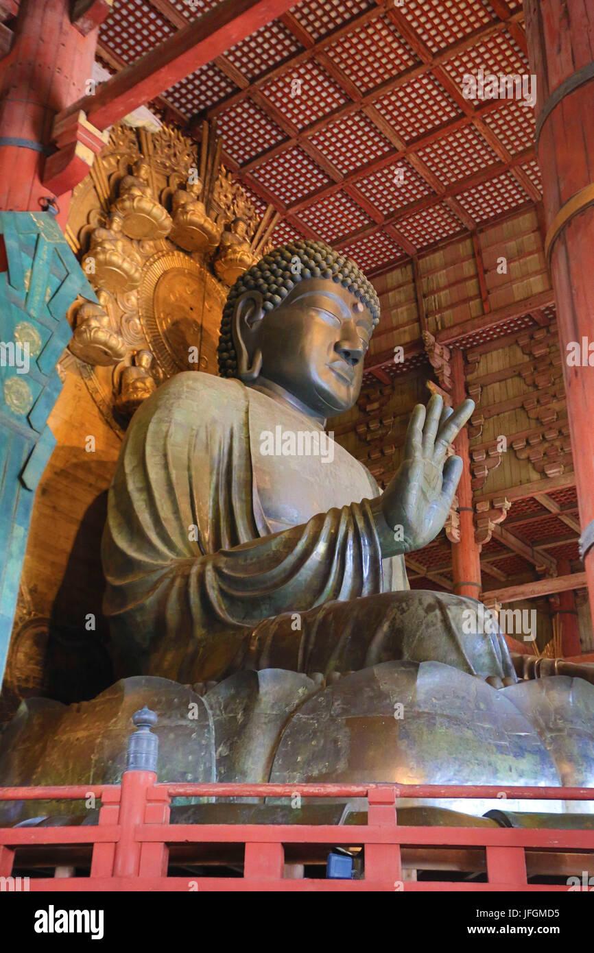 Japan, Kansai, Nara City, Todai-ji Temple, UNESCO World Heritage, the Great Buddha (Daibutsu) - Stock Image