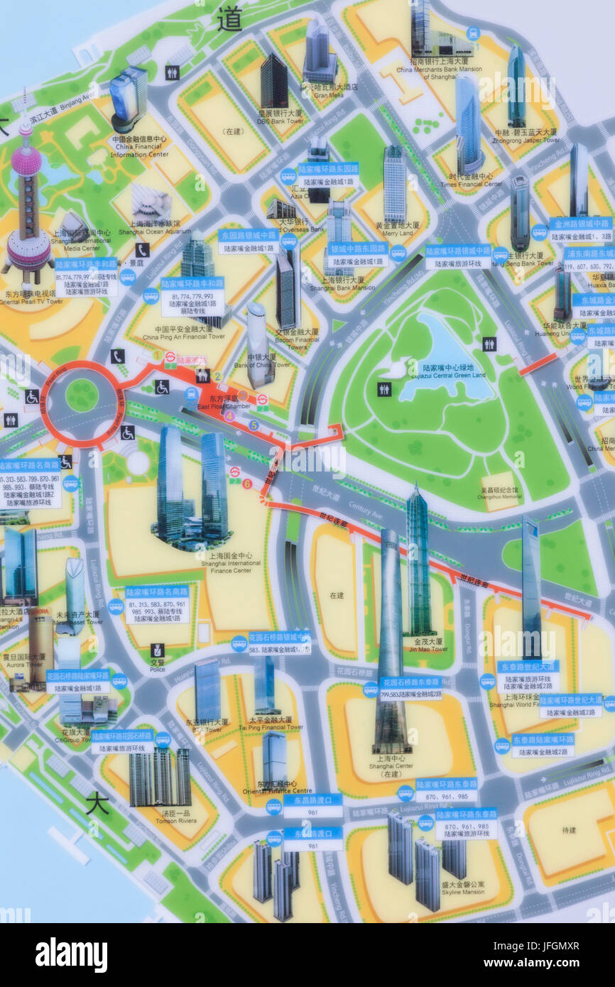 Pudong Shanghai Map China, Shanghai, Pudong, Map of Pudong Business Area Stock Photo