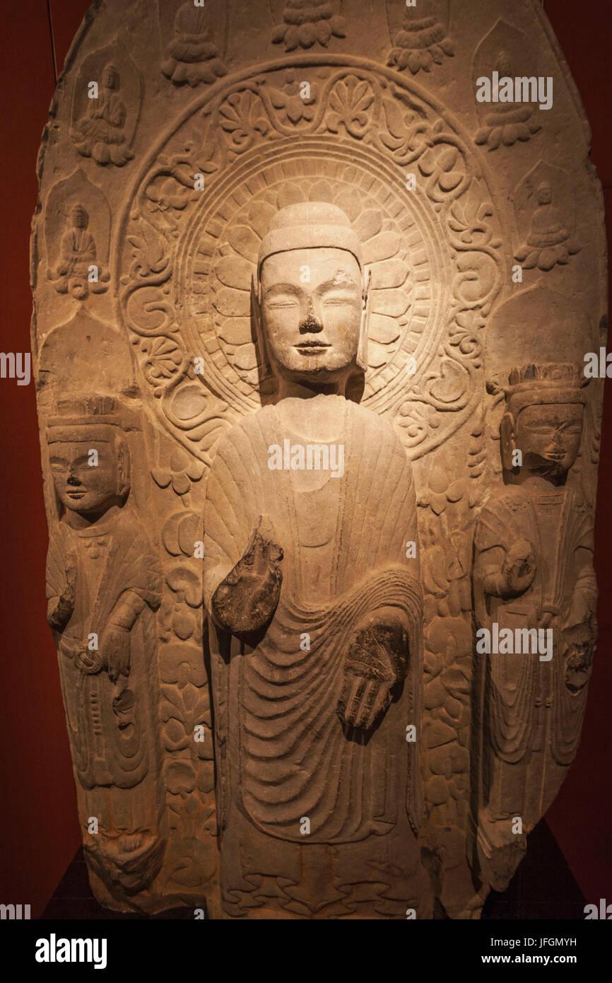 China, Shanghai, Shanghai Museum, Northern Dynasty (534-550 ADS) Stone Buddha Statue - Stock Image