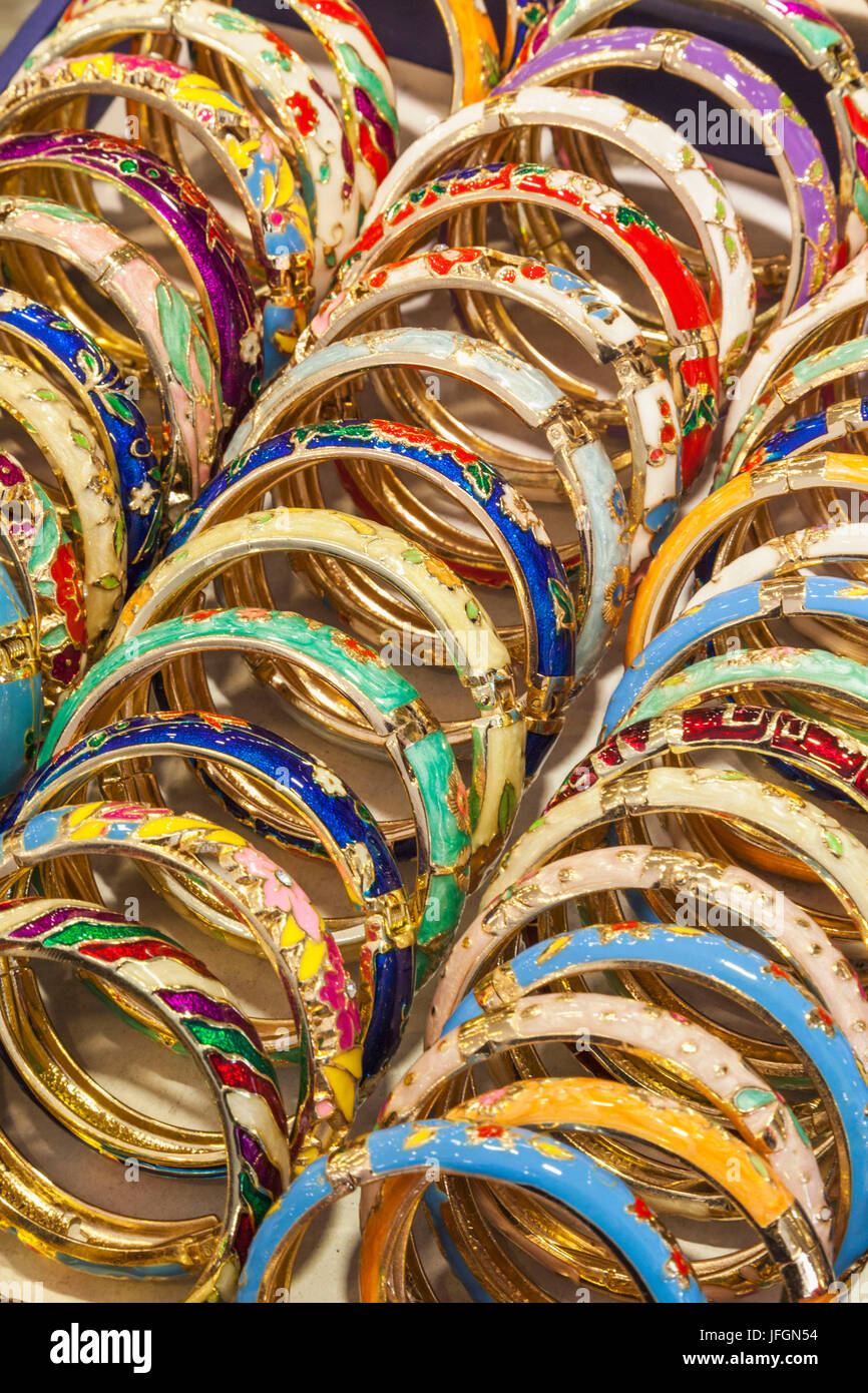 China, Shanghai, Yuyuan Garden, Jewellery Stall Display of Colourful Bangles - Stock Image