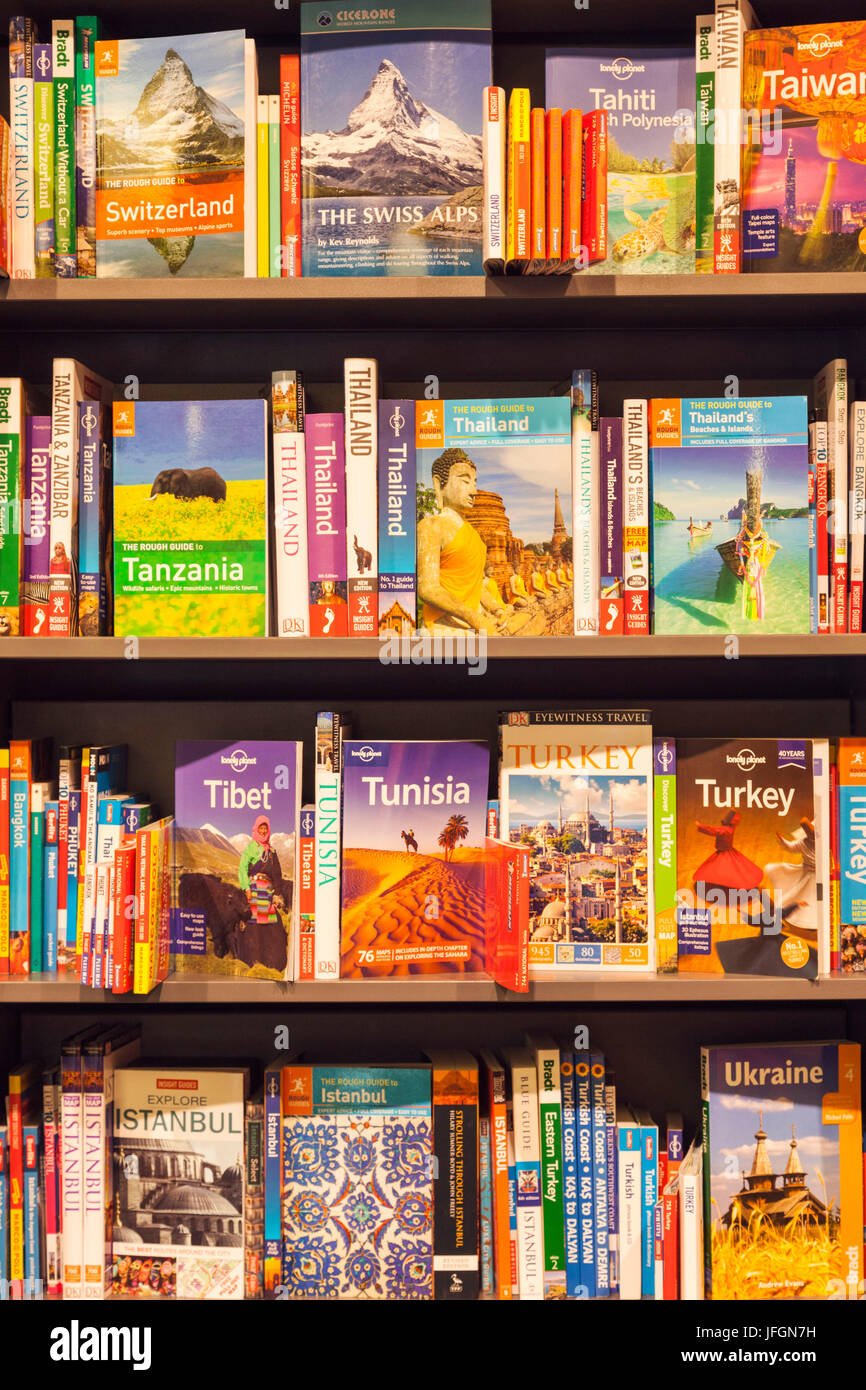 England, Bookshop display of Travel Guide Books Stock Photo