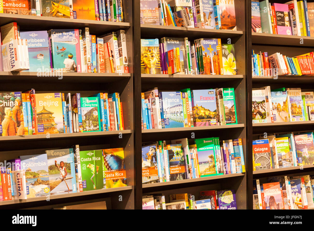 England, Bookshop display of Travel Guide Books - Stock Image