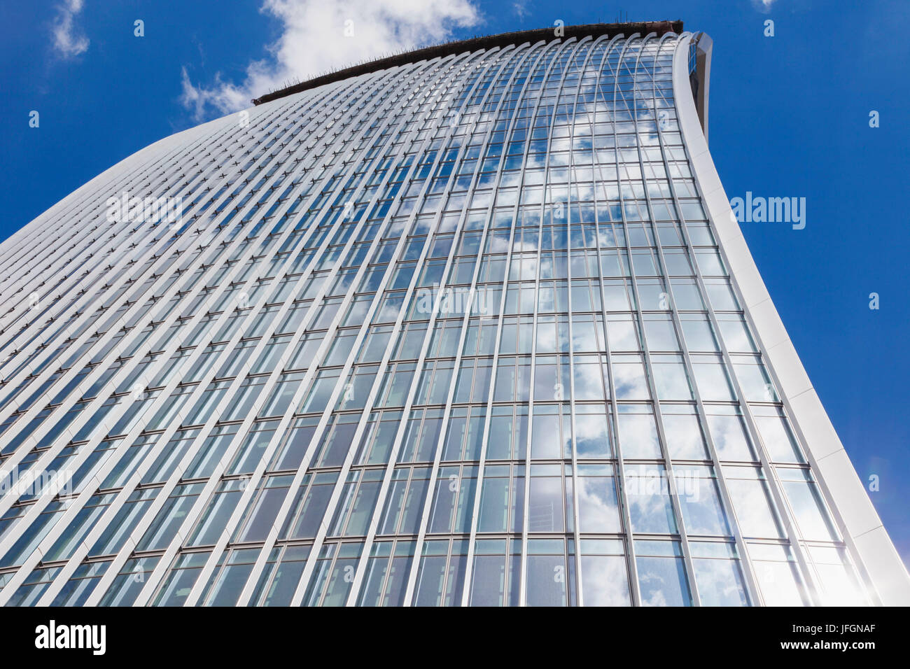 England, London, City of London, Partial View of The Walkie Talkie Building - Stock Image