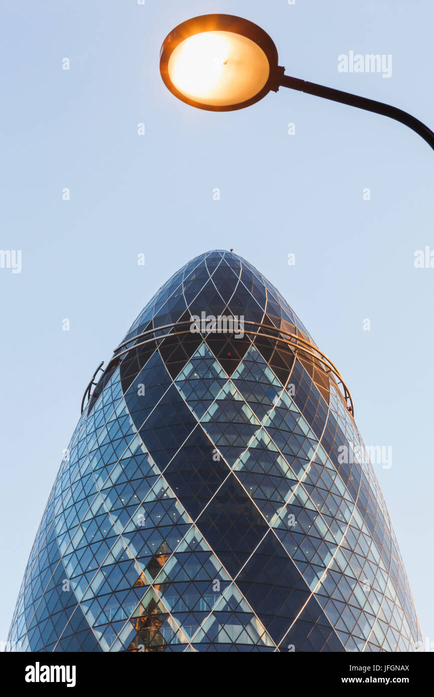 England, London, City of London, The Gherkin Building, Architect Foster and Partners - Stock Image