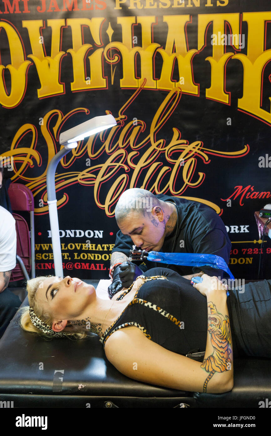 England, London, London Tattoo Convention, Tattooing - Stock Image