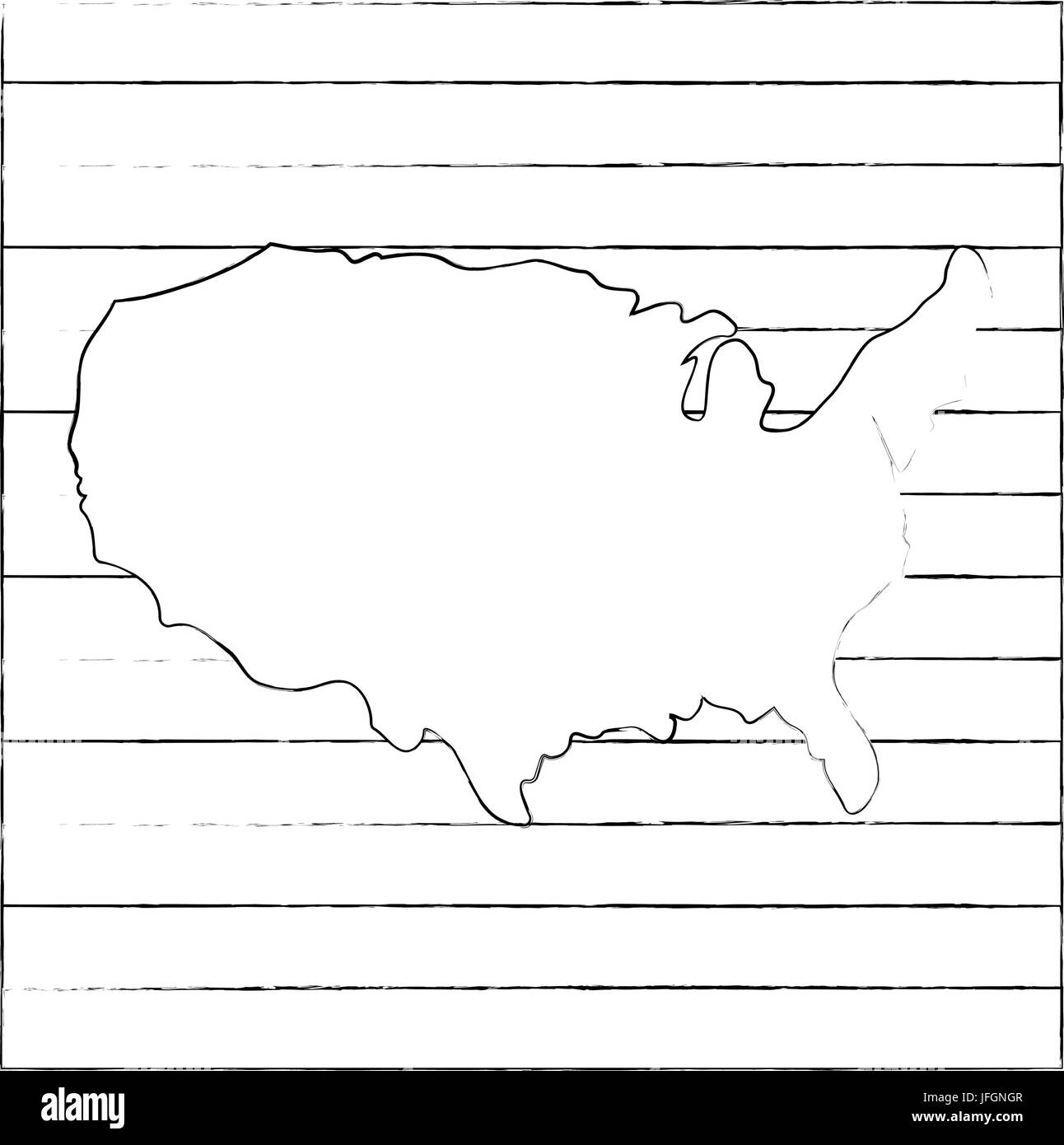 United states map silhouette icon vector illustration graphic design ...