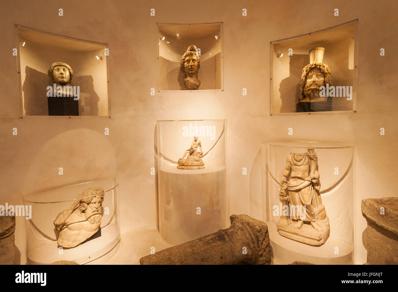 England, London, The City, Museum of London, Exhibit of Statues from The Temple of Mithras - Stock Image