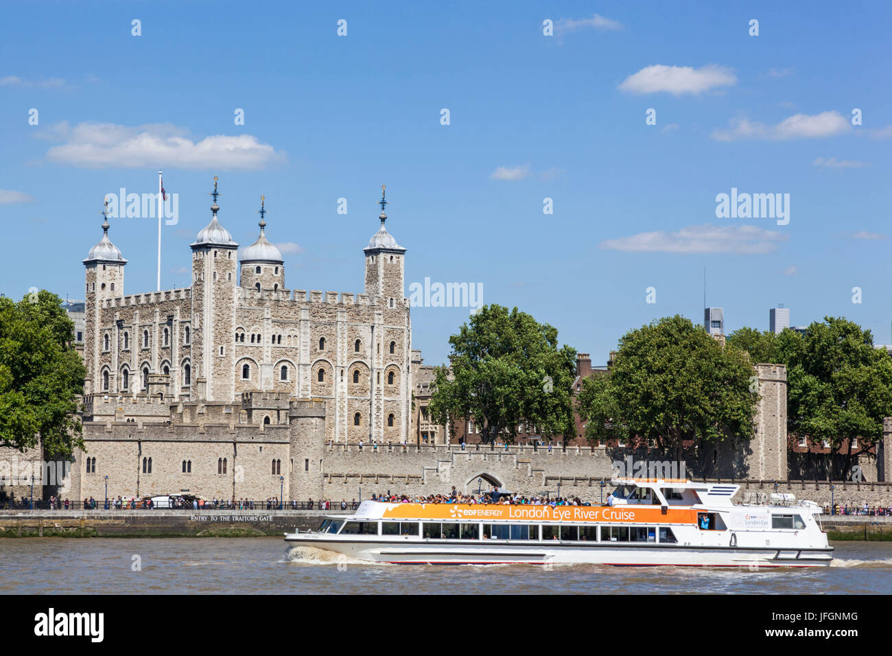 England, London, Tower of London and Thames River Cruise Boat - Stock Image