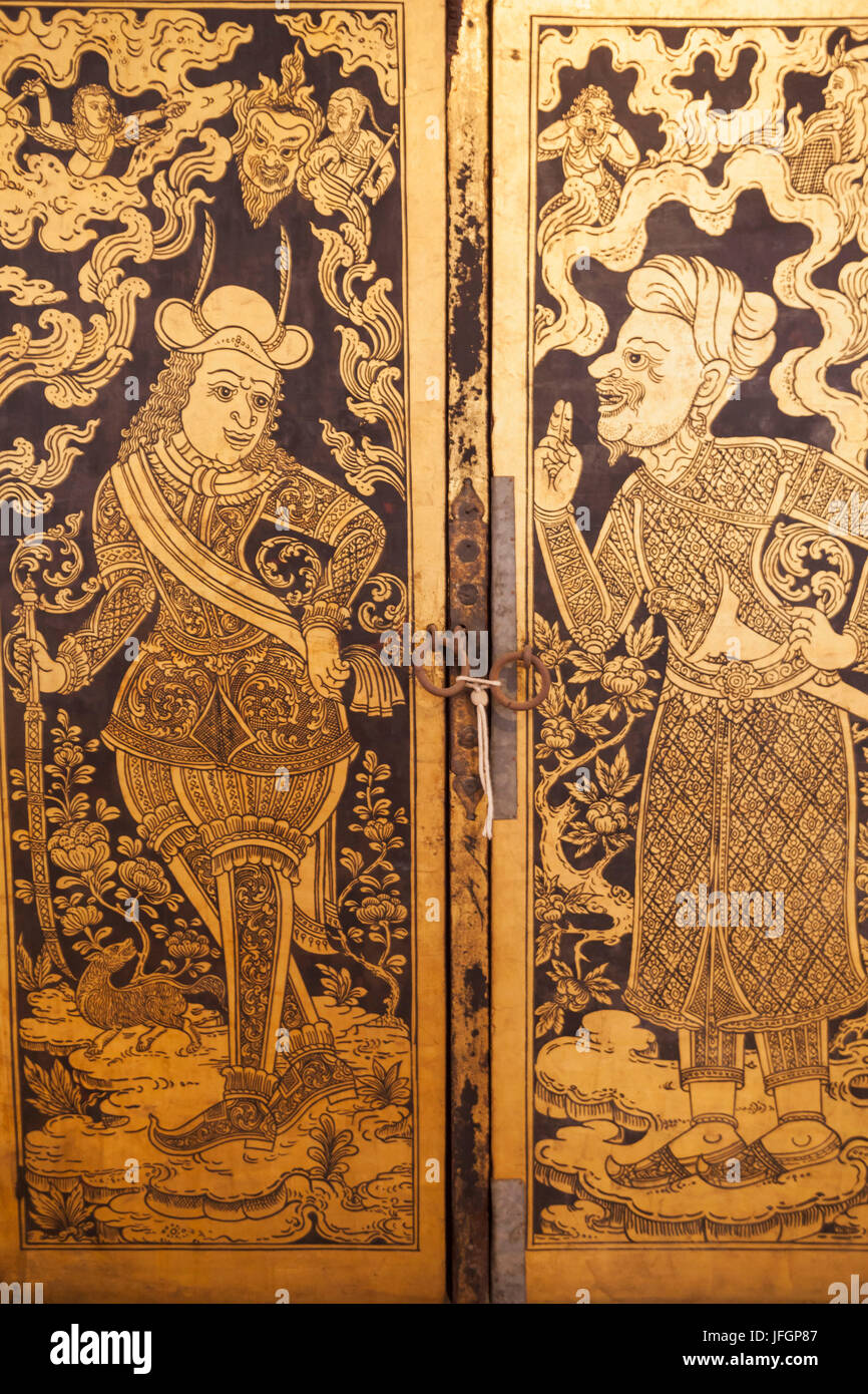 Thailand, Bangkok, Bangkok National Museum, 18th century Manuscript Cabinet Door depicting Foreigners - Stock Image