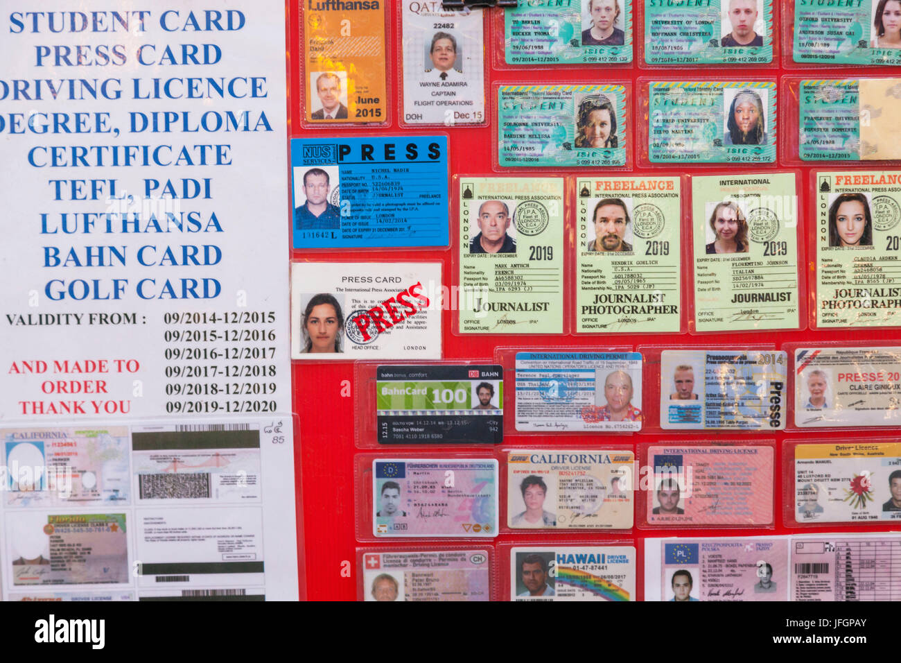 Thailand, Bangkok, Khaosan Road, Display Board Offering Fake IDs and Licenses and Certificates - Stock Image