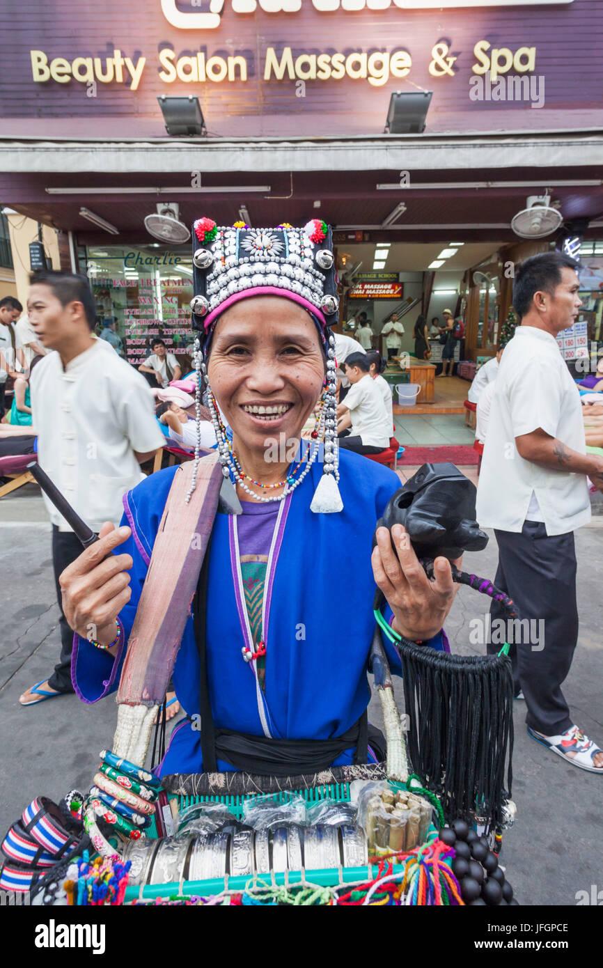 Thailand, Bangkok, Khaosan Road, Hilltribe Woman Selling Souvenirs - Stock Image