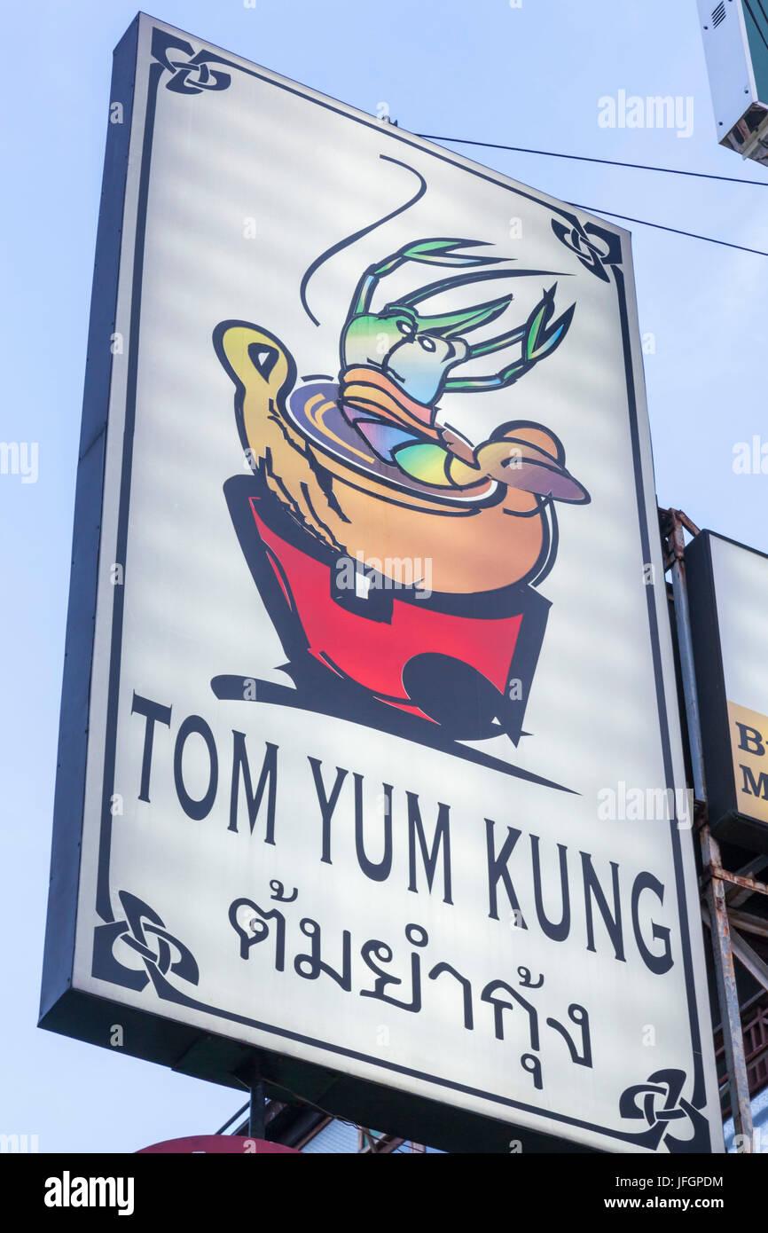 Thailand, Bangkok, Khaosan Road, Restaurant Sign Advertising Tom Yum Kung - Stock Image