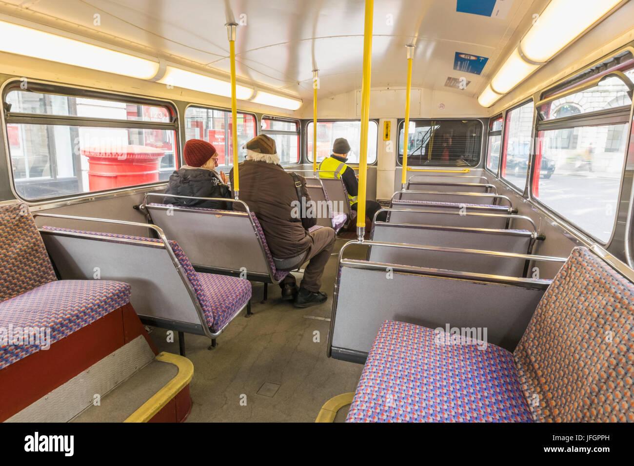 England, London, Interior of Routemaster Double Decker Bus Stock ...
