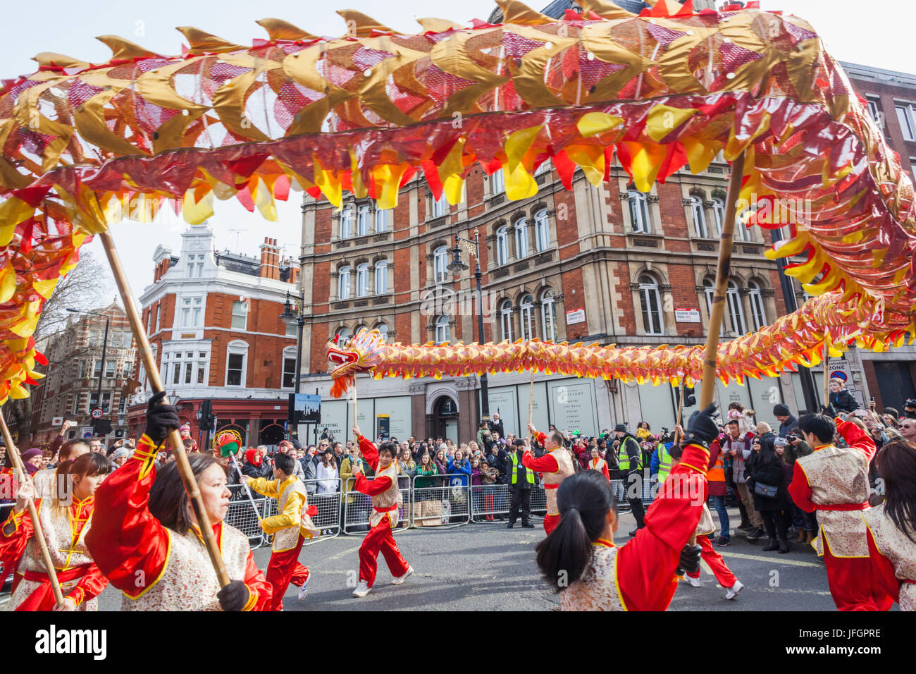 England, London, Soho, Chinatown, Chinese New Year Festival Parade, Dragon Dance - Stock Image