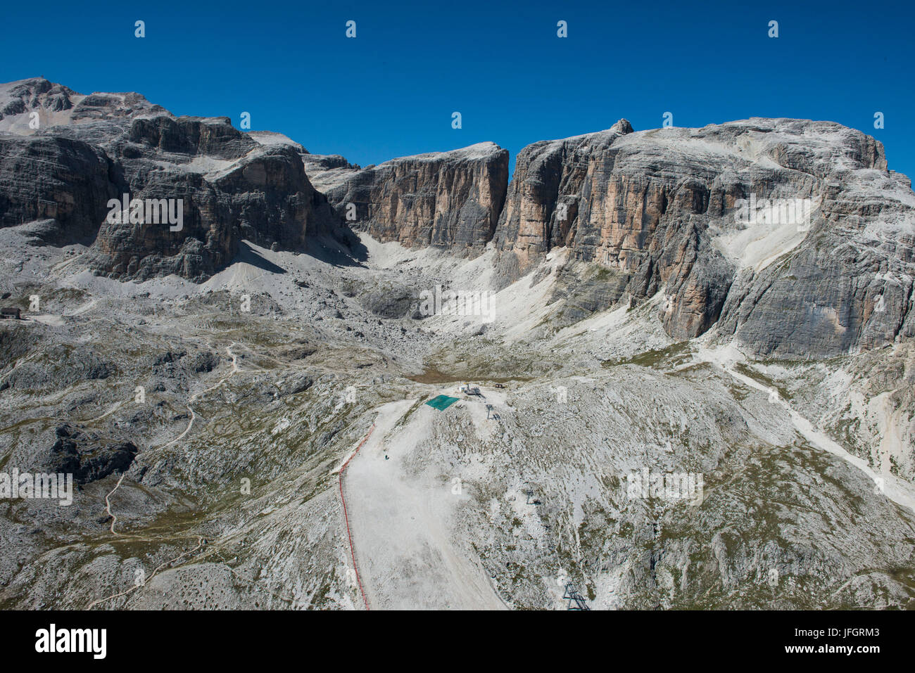 Sella group, the Dolomites, Piz gust, Piz there Lech, Valun, wall bars, aerial picture, high mountains, Corvara, Stock Photo