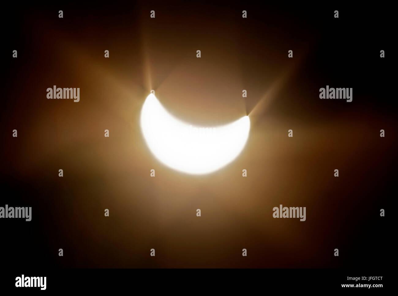 Germany, Bavaria, Upper Bavaria, Werdenfelser Land, 18th of March, 2015, partial solar darkness - Stock Image