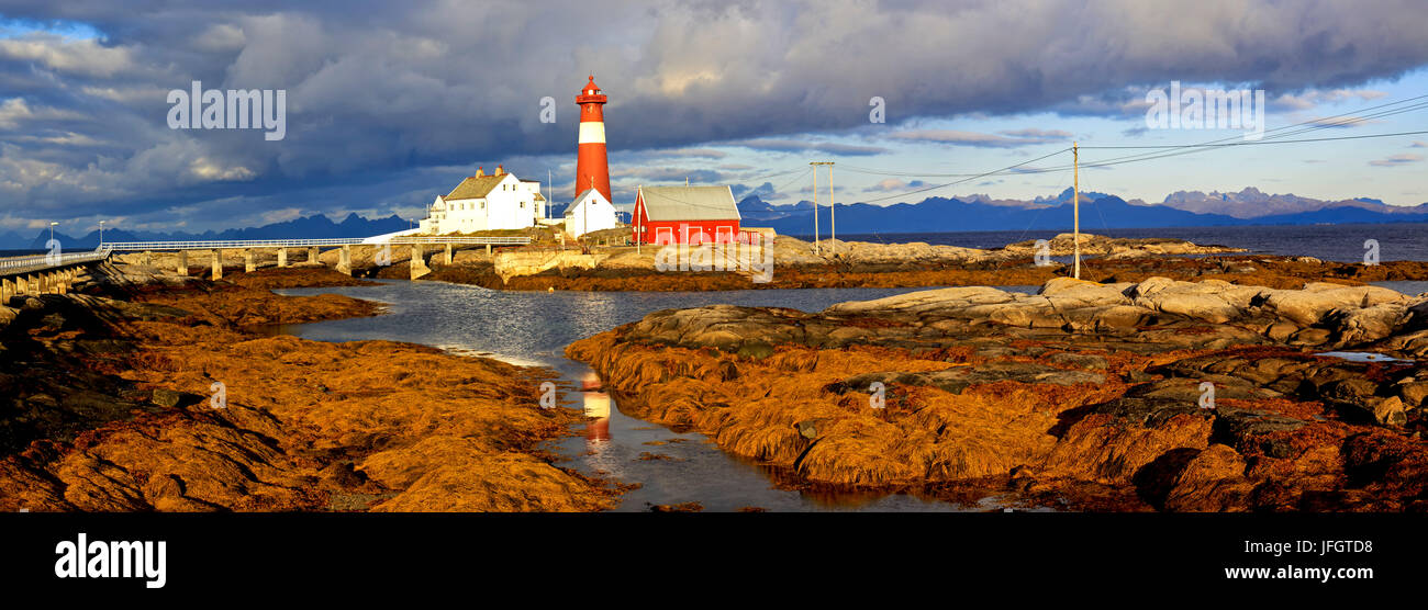 Europe, Norway, Nordnorwegen, province northern country, local authority district Hamaroy, island Tranoy, lighthouse - Stock Image