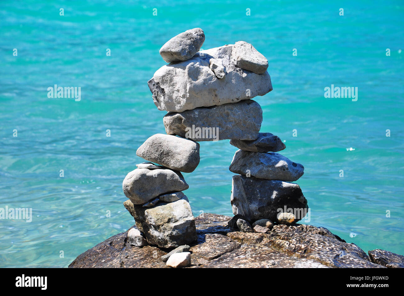 Germany, Bavaria, alpine upland, Walchensee, shore, stone tower, - Stock Image