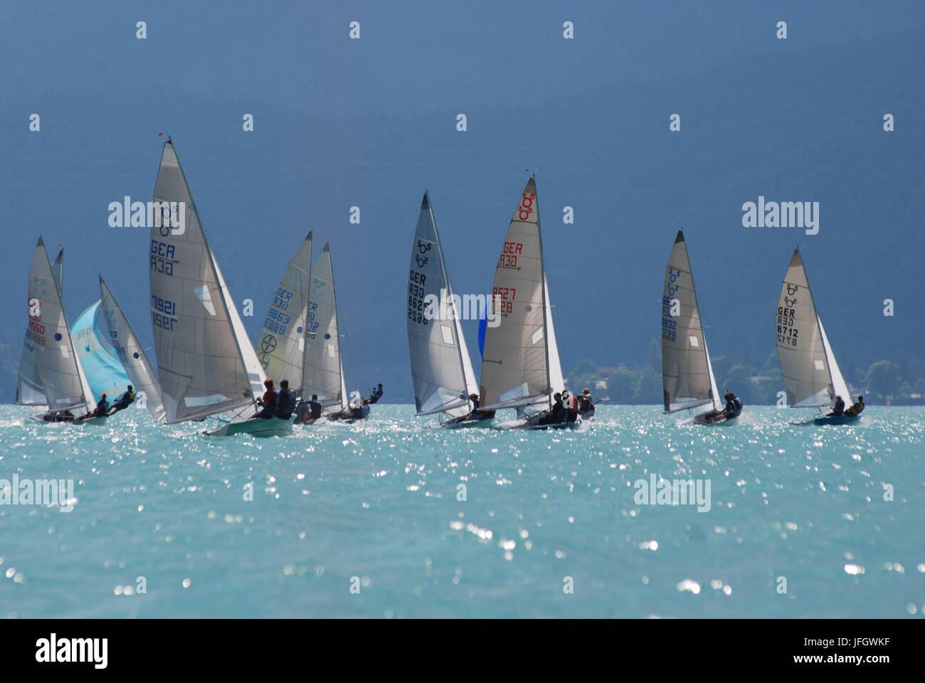 Germany, Bavaria, alpine upland, Walchensee, sailboats, regatta, summer - Stock Image