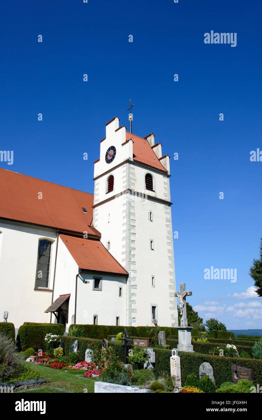 Horn, church on the Hornspitze Höri, Lake of Constance, underlake, Baden-Wurttemberg, Germany - Stock Image