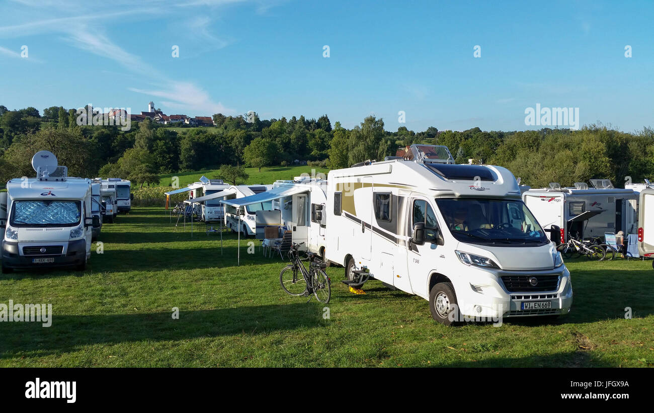 Motorhome campsite Überlingen, Lake of Constance, Baden-Wurttemberg, Germany - Stock Image