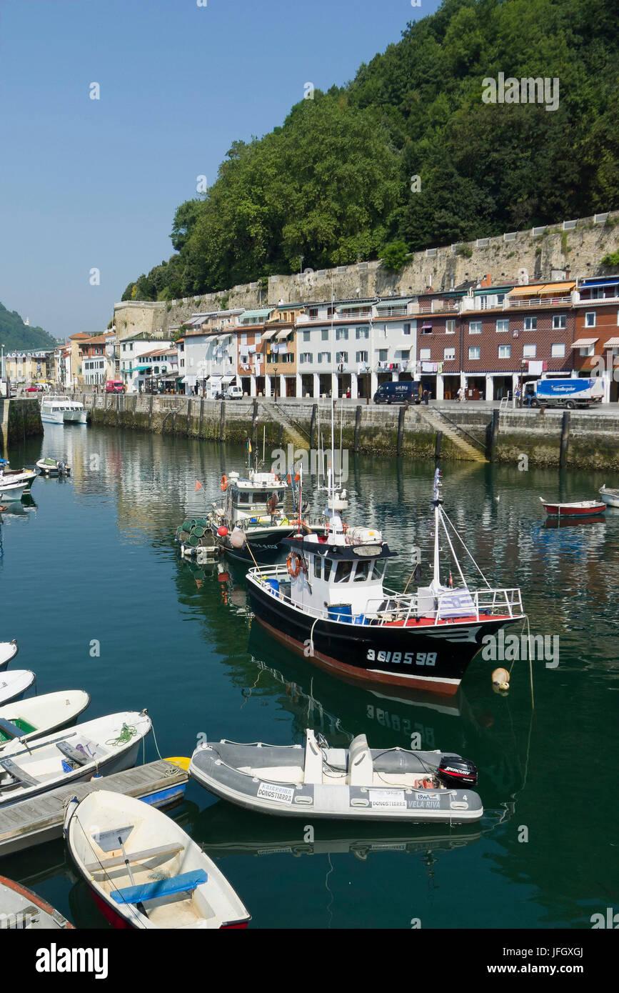 Fishing port, Donostia-San Sebastián, Gipuzkoa, the Basque Provinces, Spain - Stock Image