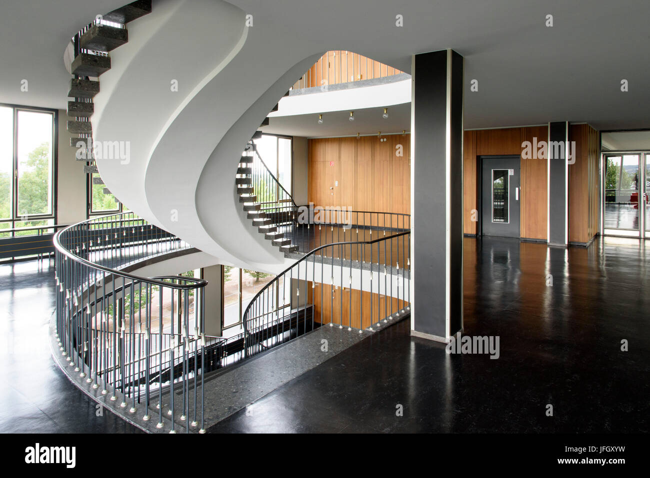 The 50s stairwell in the compulsory health insurance scheme building, Kassel, Hessen, Germany - Stock Image