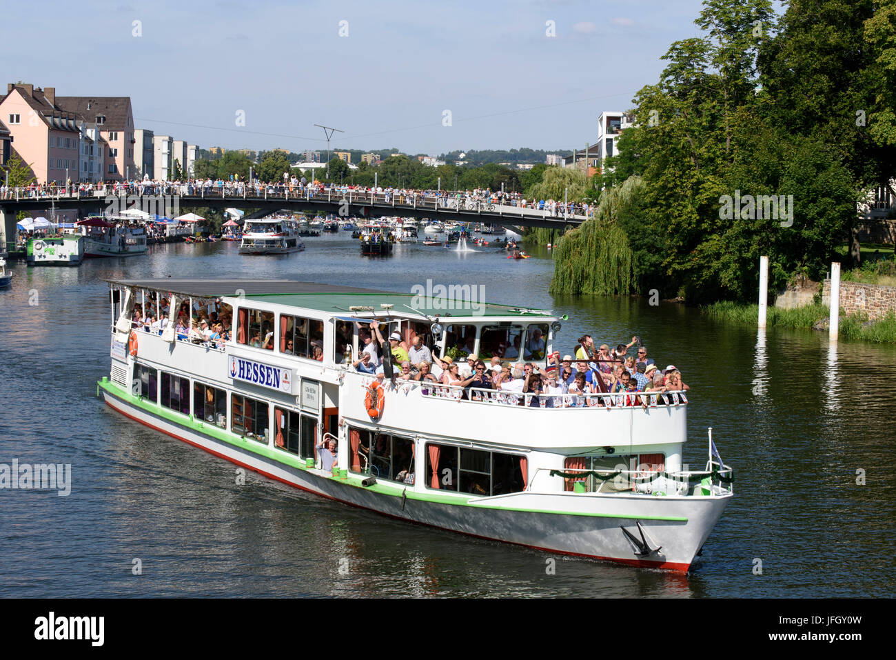 Passenger ship, public festival Zissel, water procession on Fulda, Kassel, Hessen, Germany - Stock Image