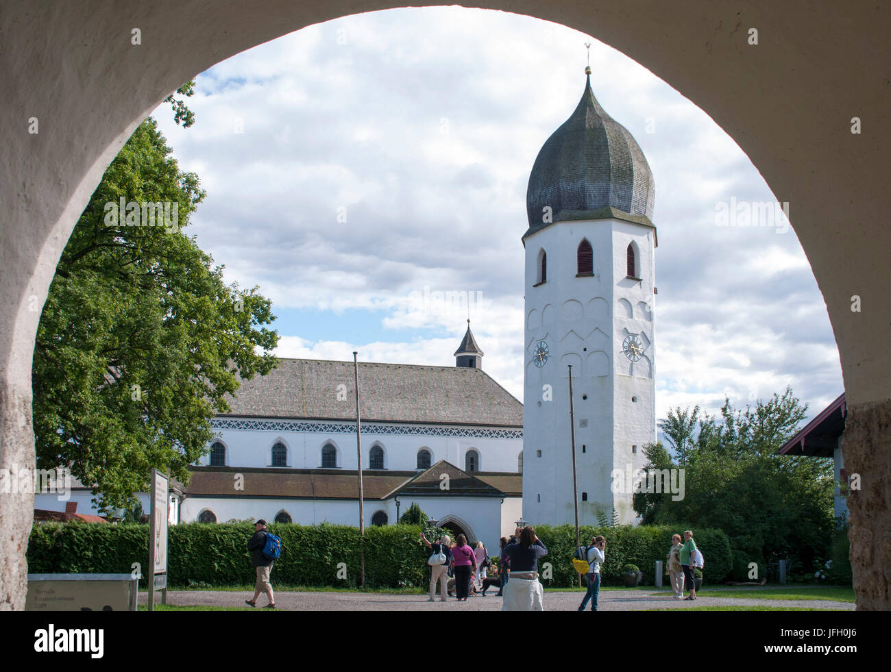 Minster, cathedral, Fraueninsel in Lake Chiemsee, cloister of Frauenwörth, Fraueninsel, Frauensee Chiemsee, Lake Stock Photo