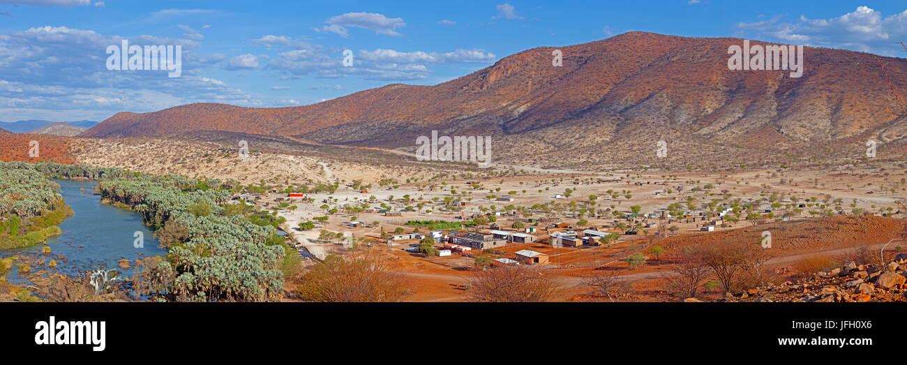 Epupa waterfall, village, Epupa, Kaokoland, Namibia, Angola, panorama - Stock Image
