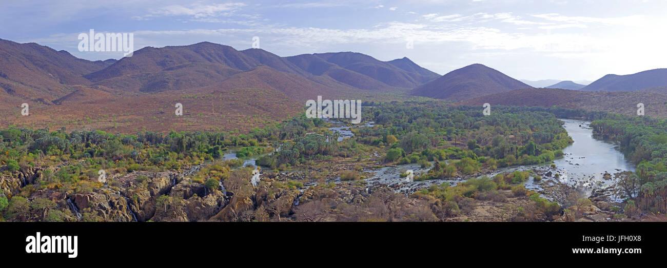 Epupa waterfall, Kunene river, Kaokoland, Namibia, Angola, panorama - Stock Image