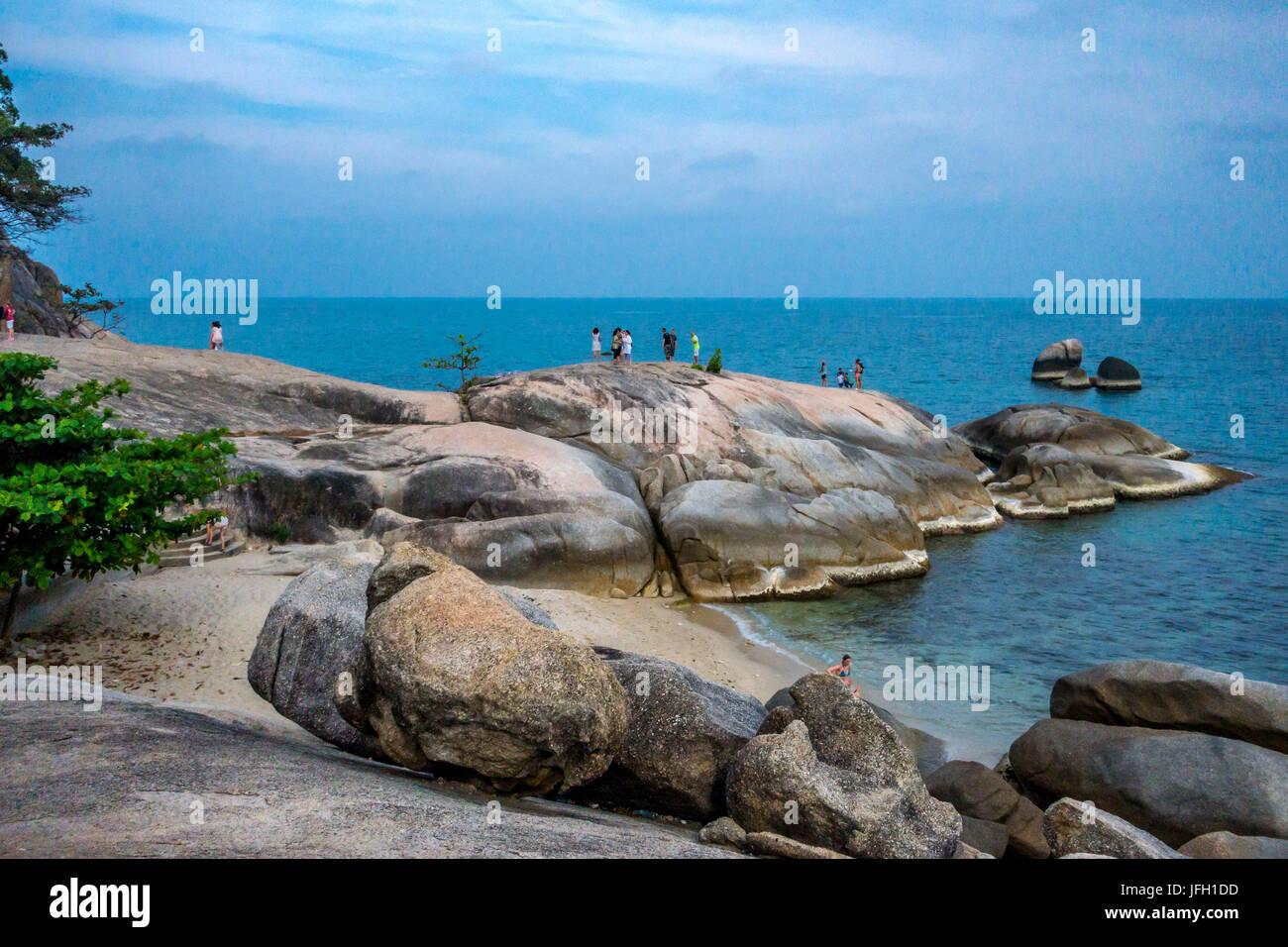 There Ta and There Yai rocks, Grand of rock, Lamai Beach, island Ko Samui, Thailand, Asia - Stock Image