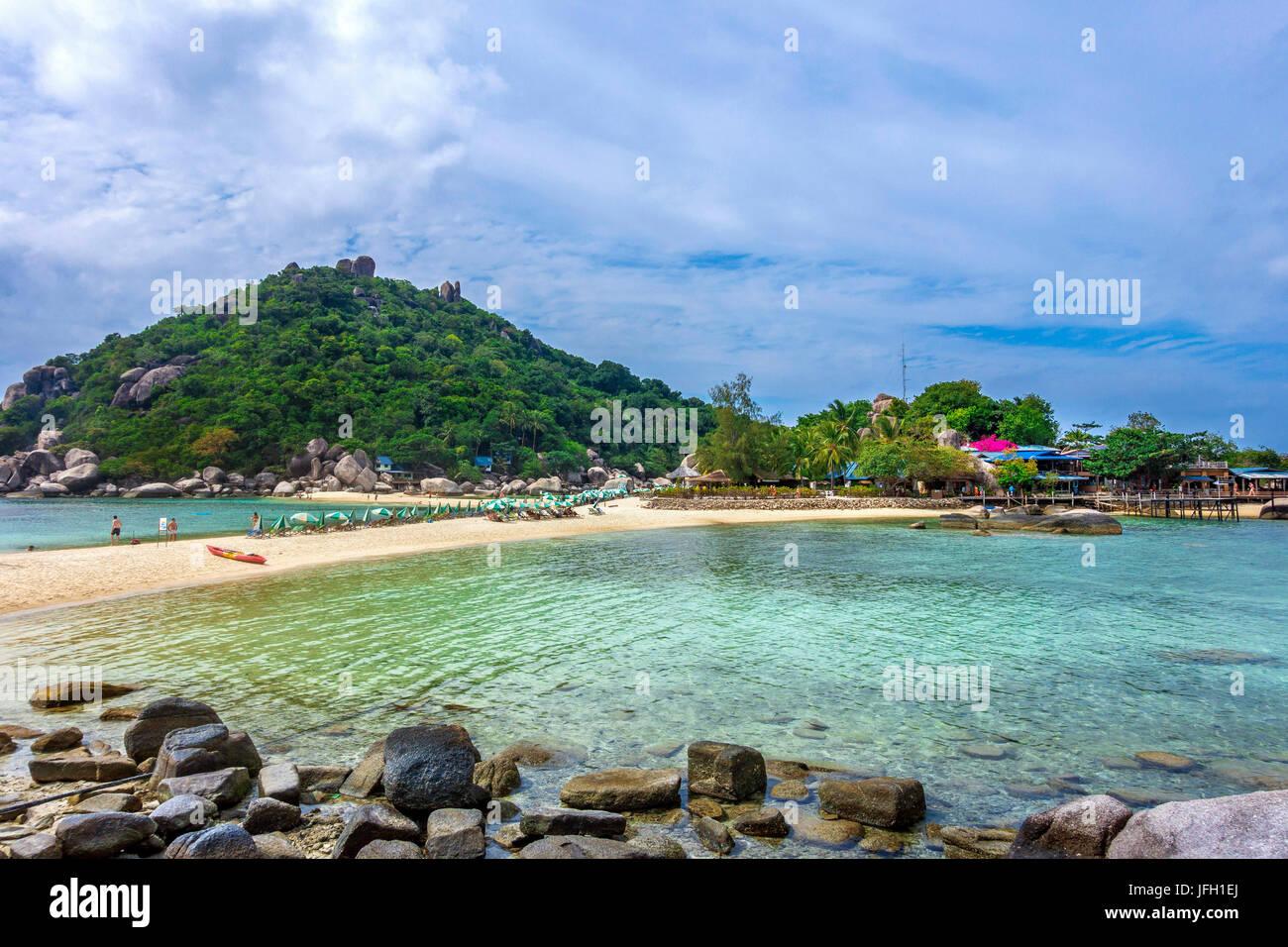 Island Koh Nang yuan, also Nangyuan, with Koh Tao, golf of Thailand, Thailand, Asia - Stock Image