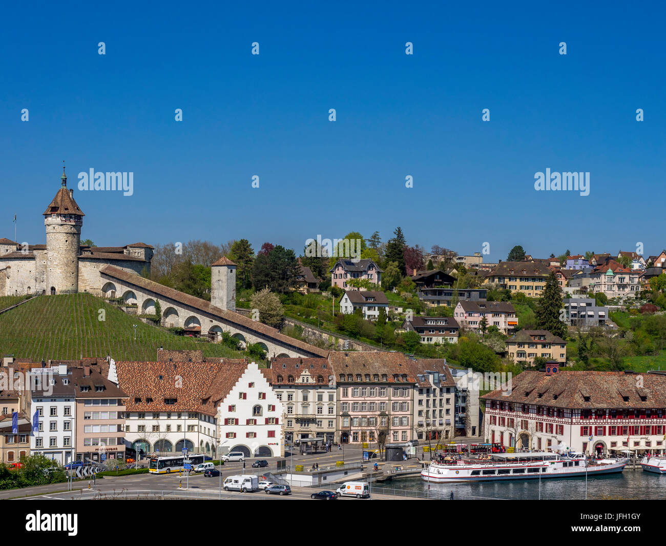 View at Old Town of Schaffhausen and the fortress attachment Munot, canton Schaffhausen, Switzerland, Europe - Stock Image