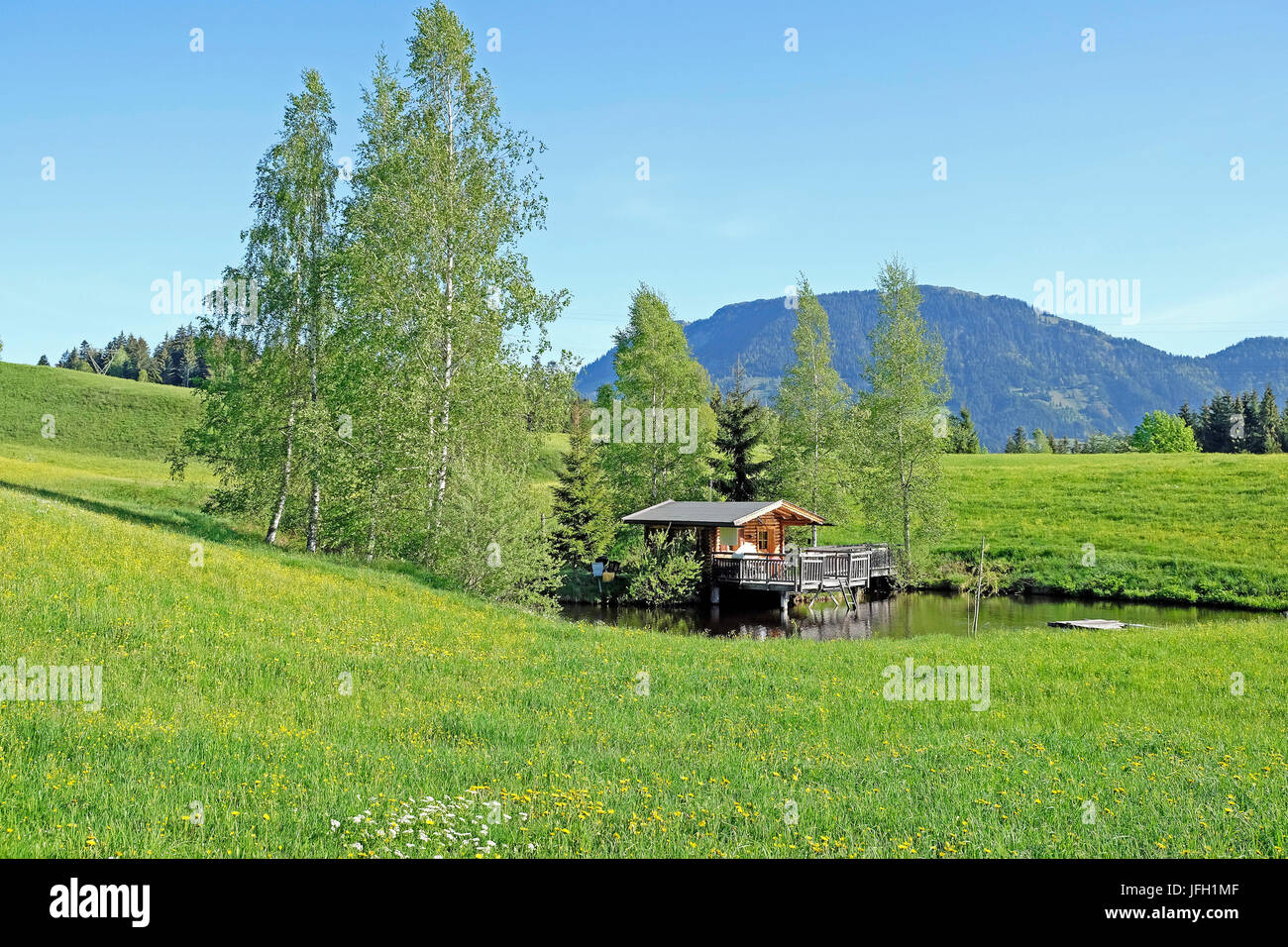 small country house in the pond log cabin hut partial building on