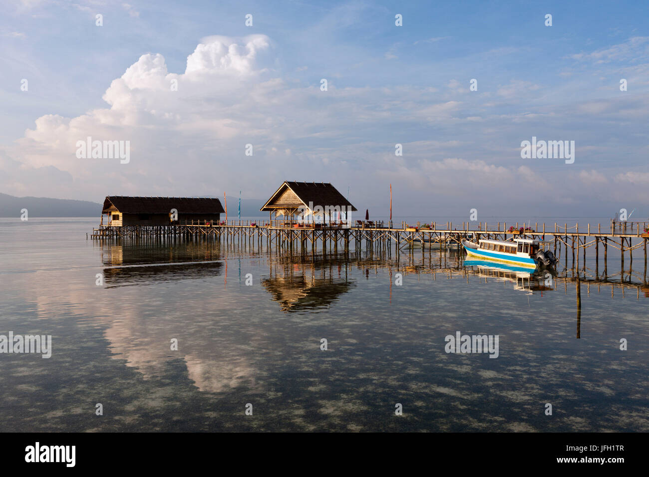 Bridge in the Papua Explorers Resort, Gam, Raja Ampat, west Papua, Indonesia - Stock Image