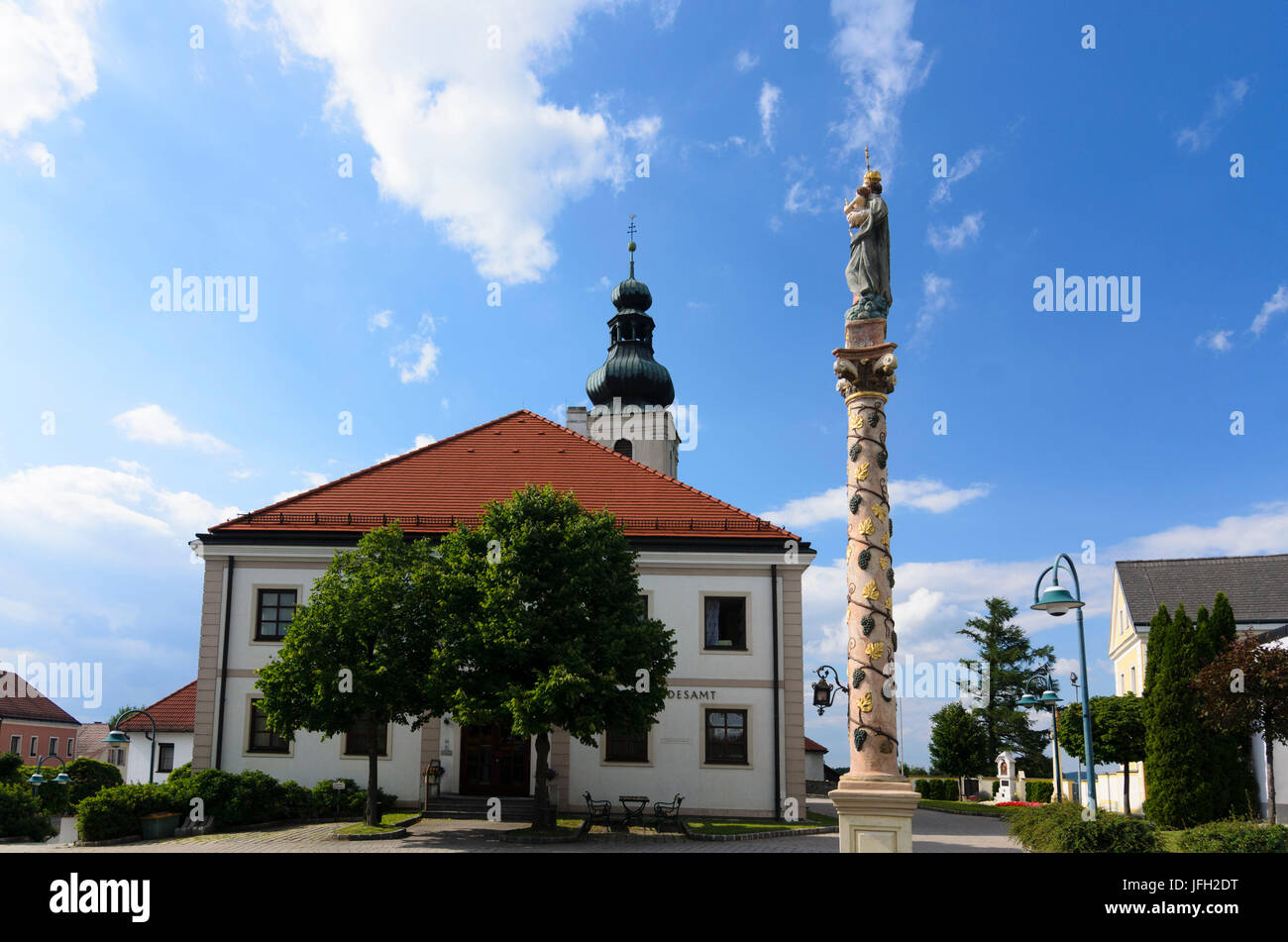 Local authority, parish church St. Peter and Paul and Marian column, Austria, Lower Austria, Viennese alps, Wiesmath - Stock Image