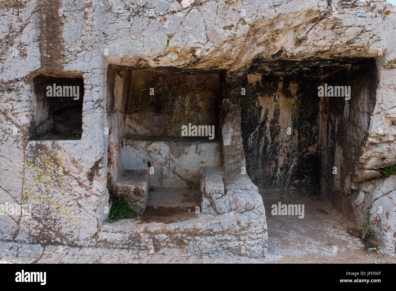 Antic hand cutted stones at Filopappou Hill, Athens (Greece) - Stock Image