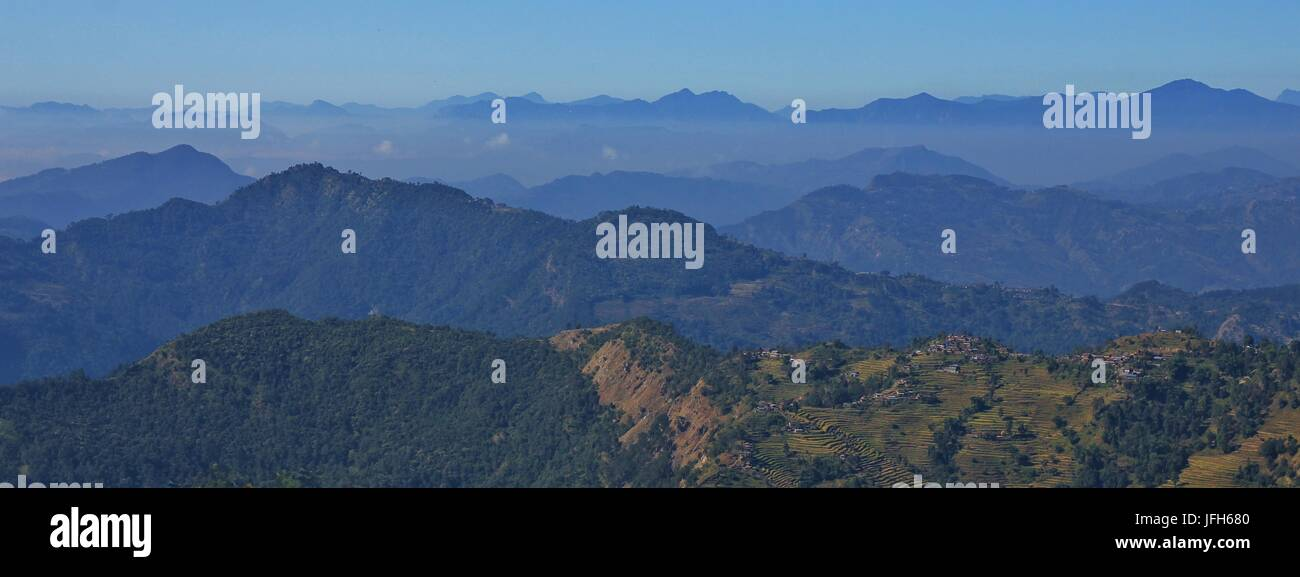 Hills and valleys near Pokhara - Stock Image