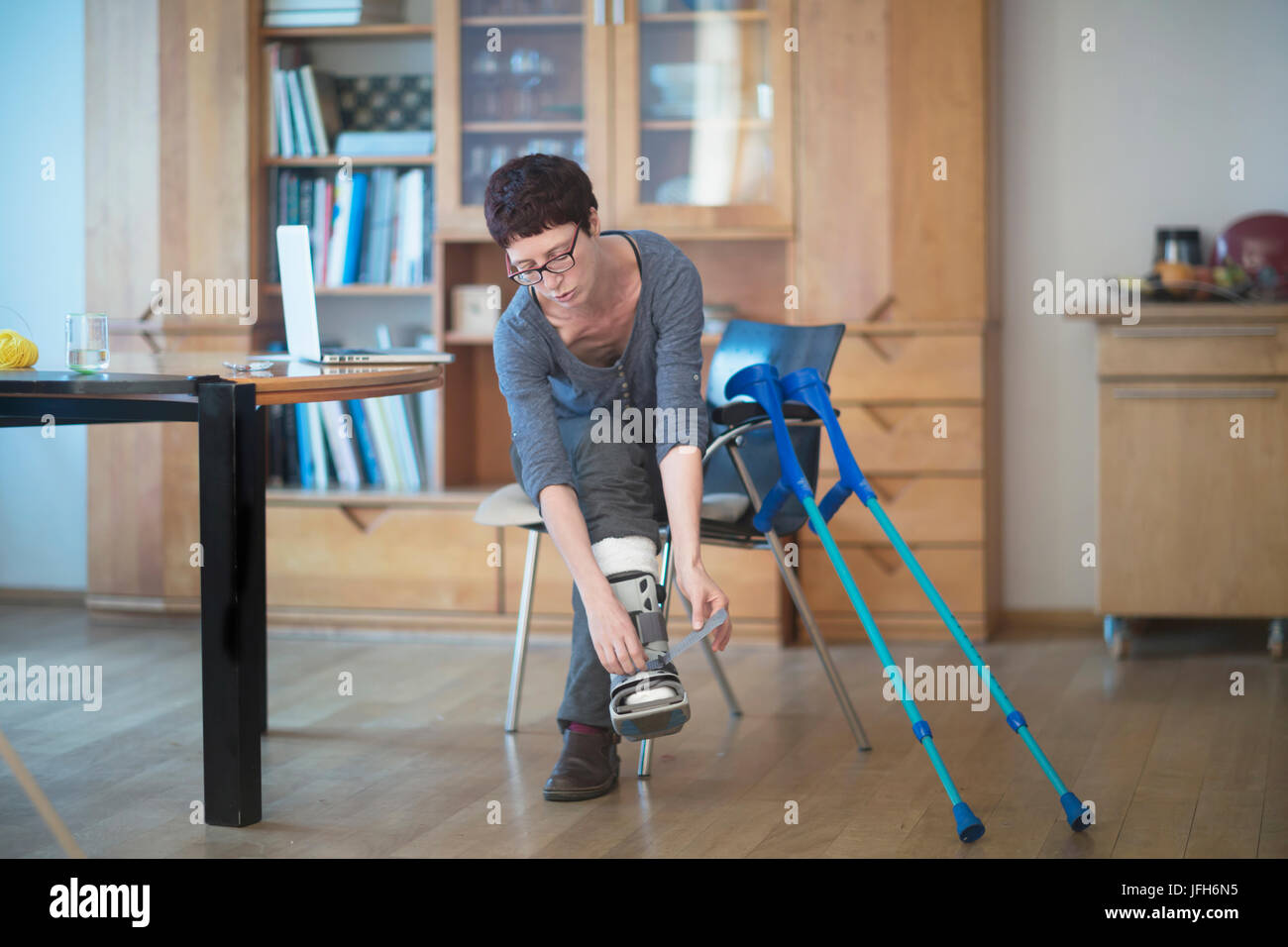 Hot mature wife leg braces and crutches